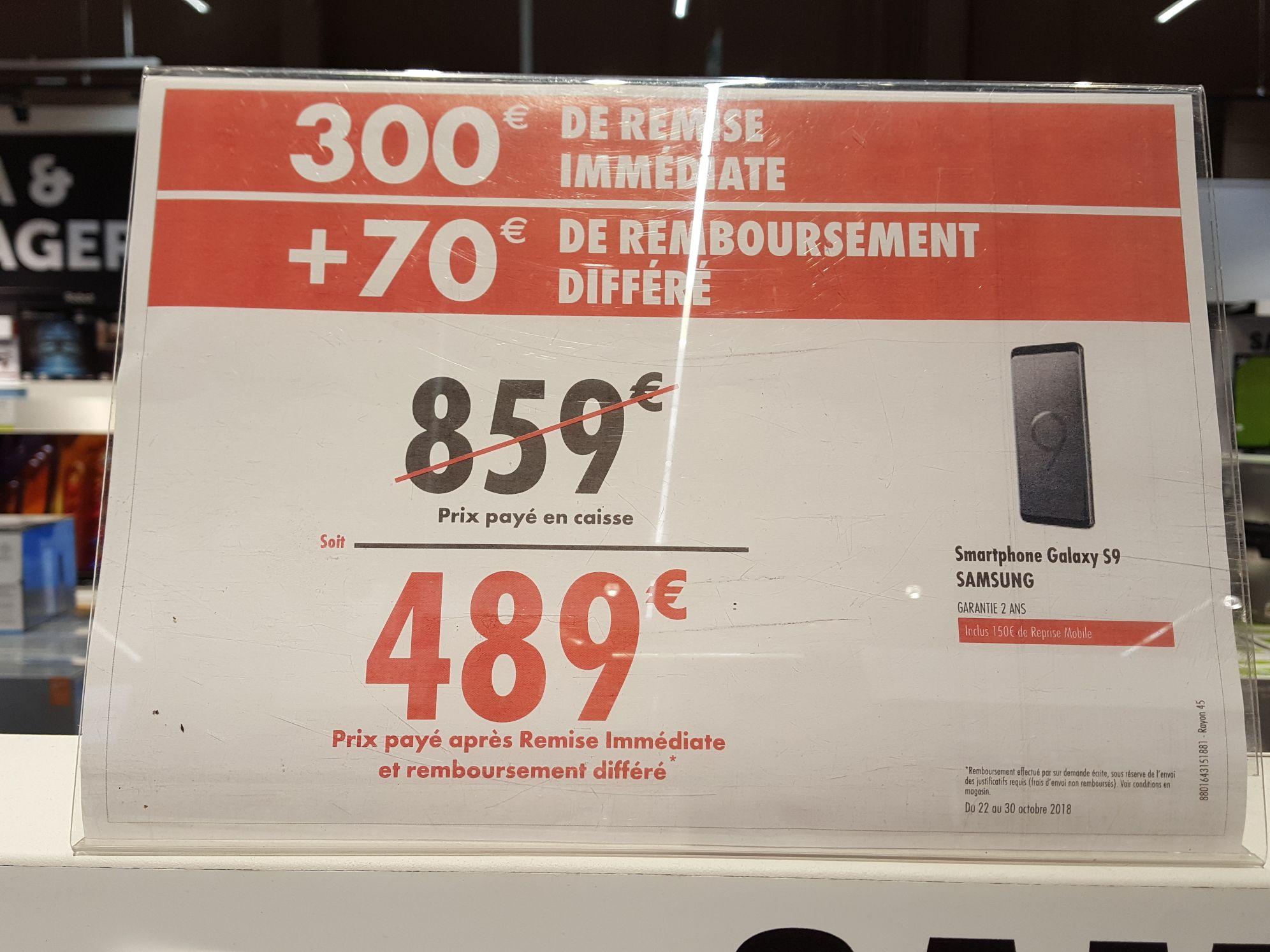 """Smartphone 5.8"""" Samsung Galaxy S9 - 64Go (via ODR de 70€ et reprise mobile) - Montesson (78)"""