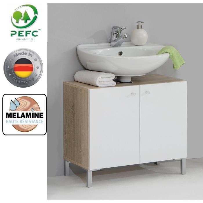 Meuble salle de bain sous vasque Bilbao - 64cm blanc/chêne (made in Germany)