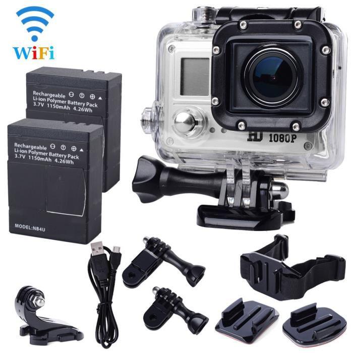 Caméra sportive SJ5000 WiFi + boitier étanche + 2 batteries + quelques fixations