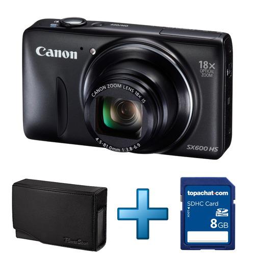 Appareil photo Canon PowerShot SX600HS 16 MP + Housse Canon + Carte SDHC 8 Go