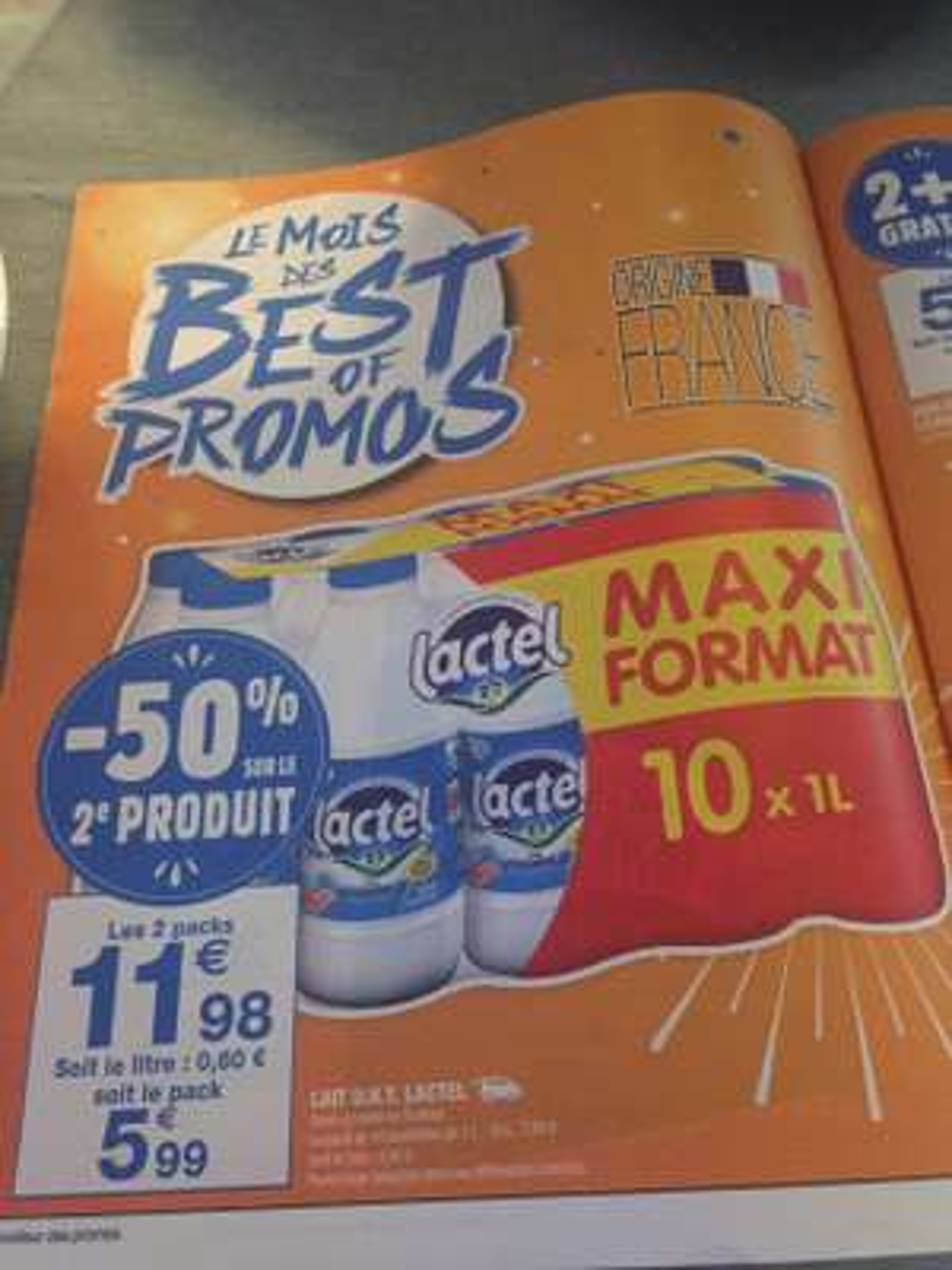 Lot de 2 packs de 10 bouteilles de lait UHT Lactel démi-écrémé ou écrémé - 10x1 L