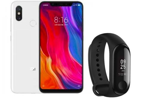 "Smartphone 6.21"" Xiaomi Mi8 - 64Go, 4Go de RAM + Mi Band 3 + Écouteurs Mi Basic (Via ODR de 50€)"