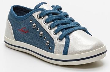 Sneakers pour fille Fradis bleu denim et blanc irisé - Taille 26 à 38