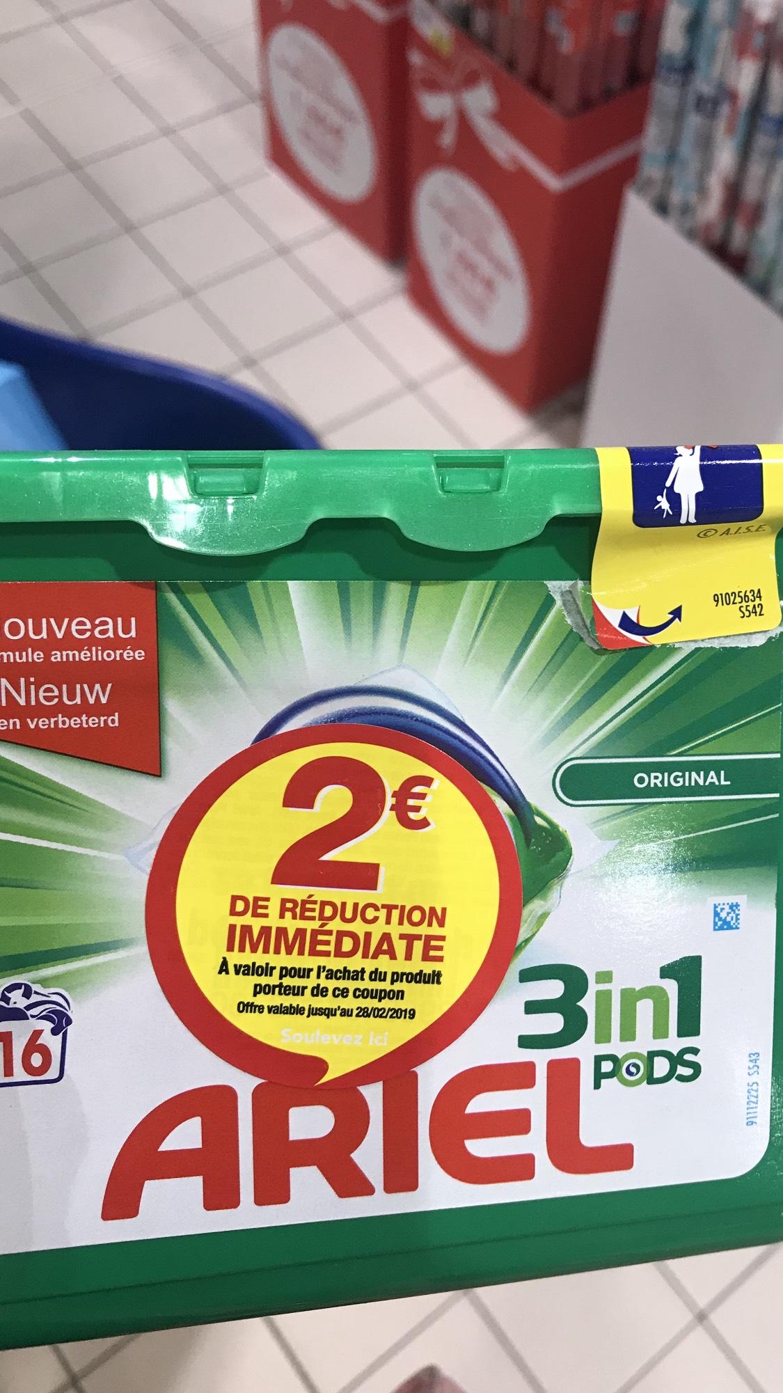 Lessive Ariel pods 3 en 1 (16 Pods) - via remboursement Quoty (2,50€) et Network (4,50€)