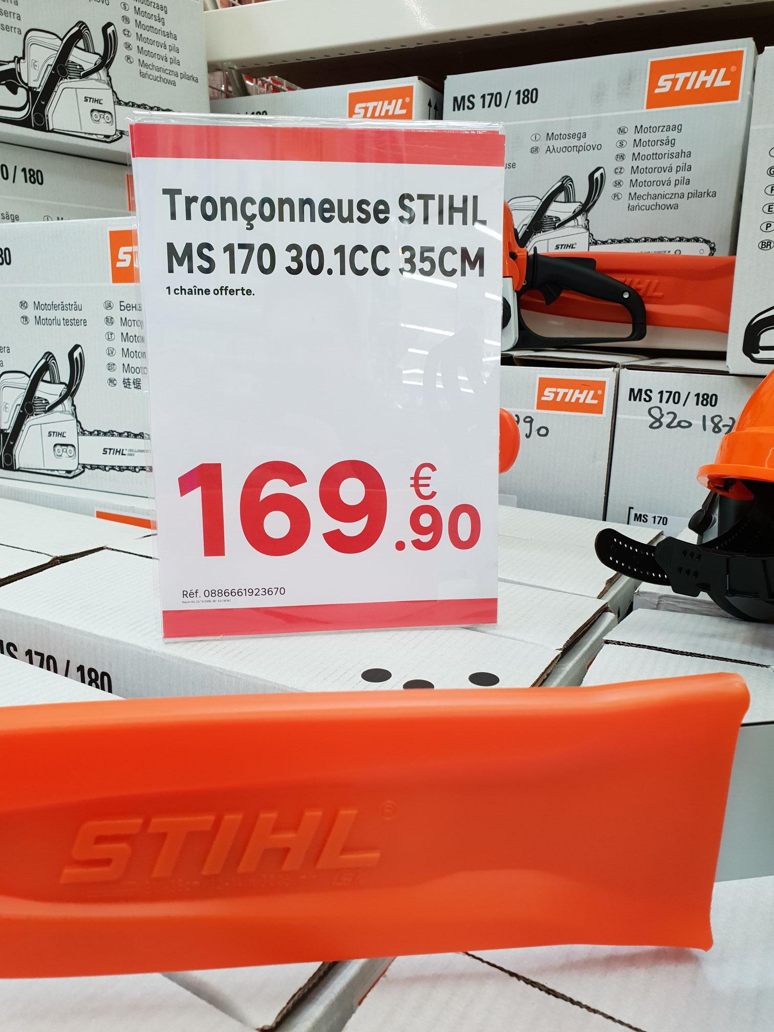 Tronçonneuse thermique Stihl MS17030.1cc + chaîne offerte - Leroy Merlin marsac sur l'isle (24)