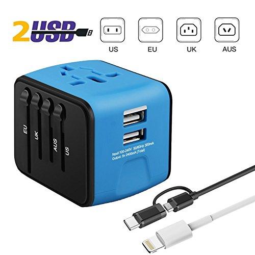 Adaptateur de Voyage International avec Fusible de Sécurité et 2 USB (Vendeur tiers)