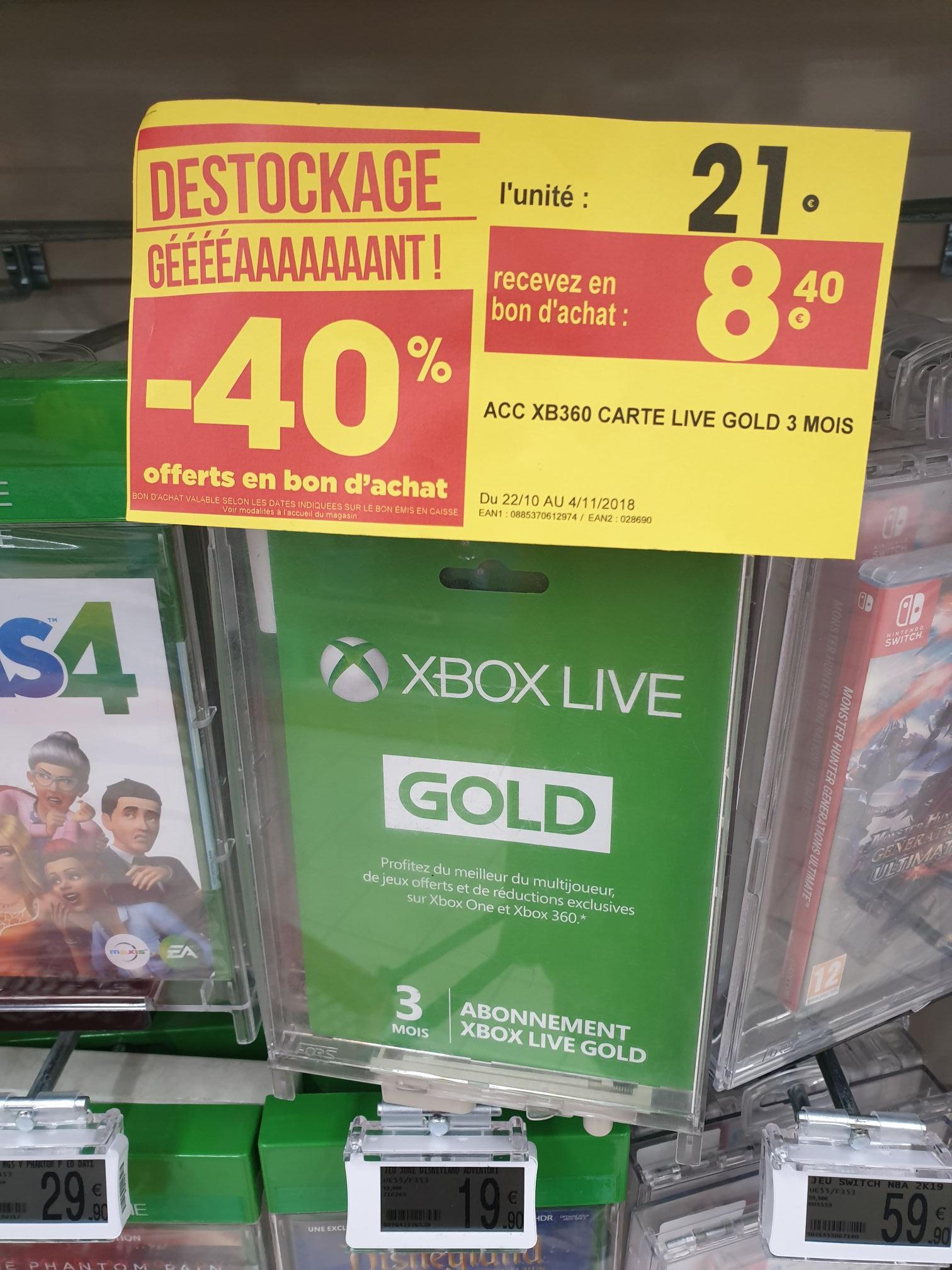 Abonnement de 3 mois au Xbox Live Gold (Via 8.40€ en bon d'achat) - Annemasse (74)