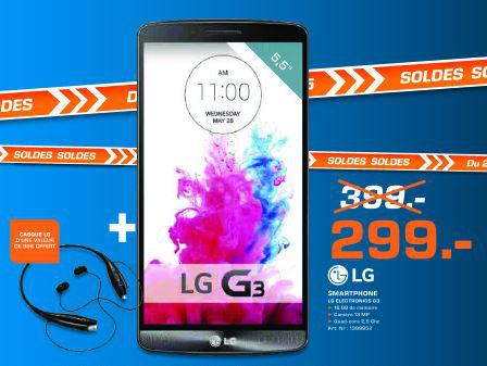 "Smartphone 5.5"" LG G3 16Go + Casque Bluetooth LG Tone + HBS-730"