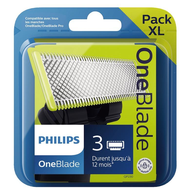Lot de 3 Lames pour rasoir OneBlade Philips QP230/50 Pack XL