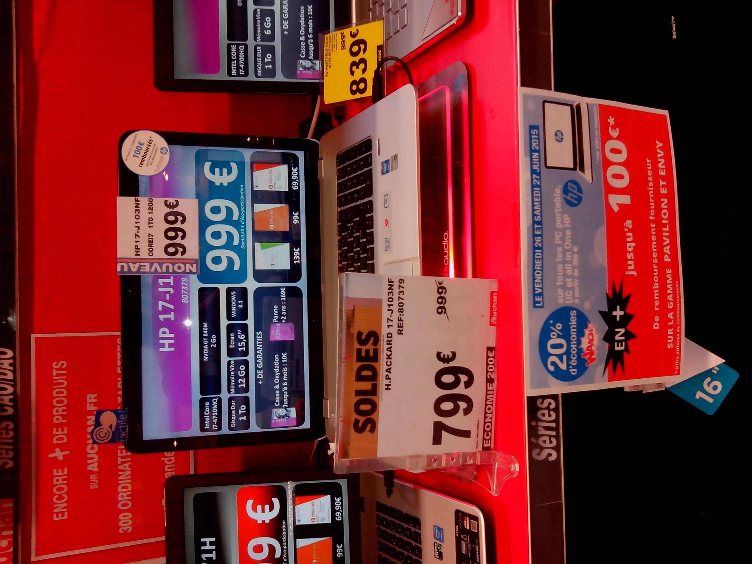 """PC portable 17"""" HP J103NF - i7- 4710MQ, 12 Go RAM, GT840M (avec 20% sur la carte + ODR 100€)"""
