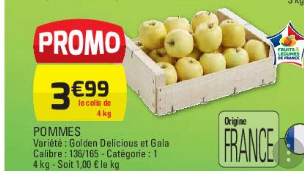 Pomme golden ou royal gala - 4Kg