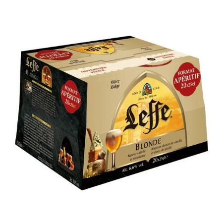 Pack de 20 bouteilles de bière blonde Leffe  (via 5.45€ fidélité)