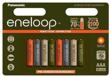 Lot de 8 Piles Eneloop Panasonic Rechargeables AAA 750 mAh - Edition Limitée
