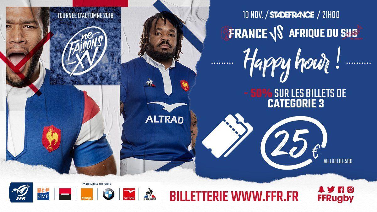 Billets pour le match de rugby France Afrique du Sud - Catégorie 3, 10 Novembre 21h, St Denis