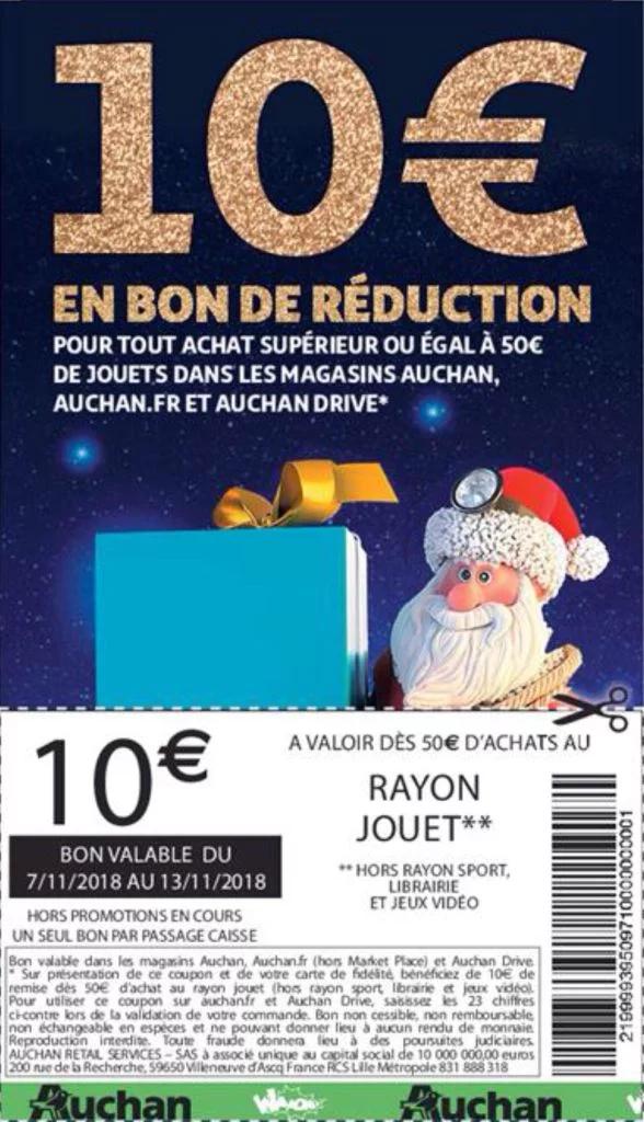 10€ de réduction pour 50€ d'achat au rayon jouets