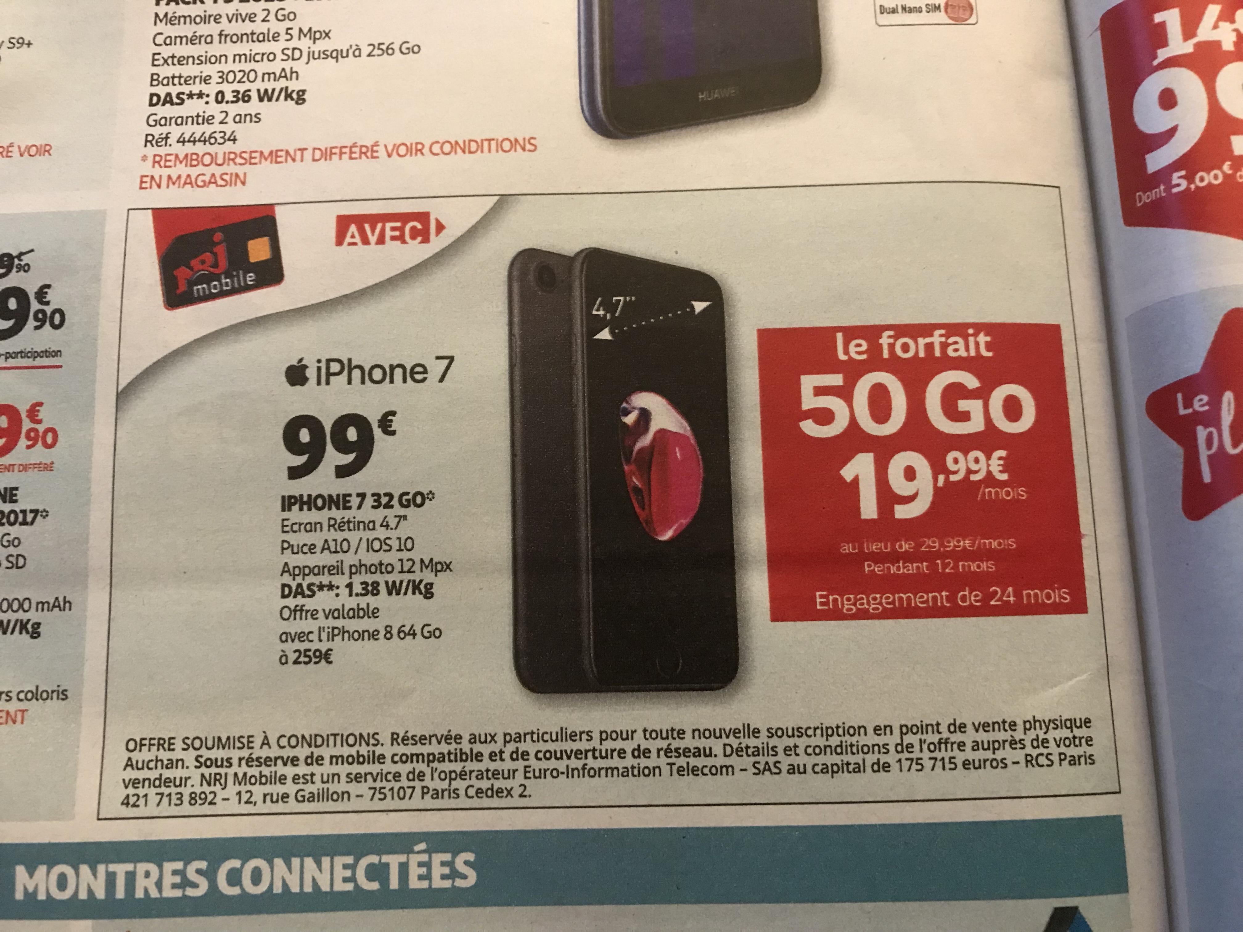 """Smartphone 4.7"""" Apple iPhone 7 (HD+, A10, 2 Go RAM, 32 Go) + forfait NRJ Mobile - 50 Go de DATA (engagement de 2 ans, compris dans le prix)"""