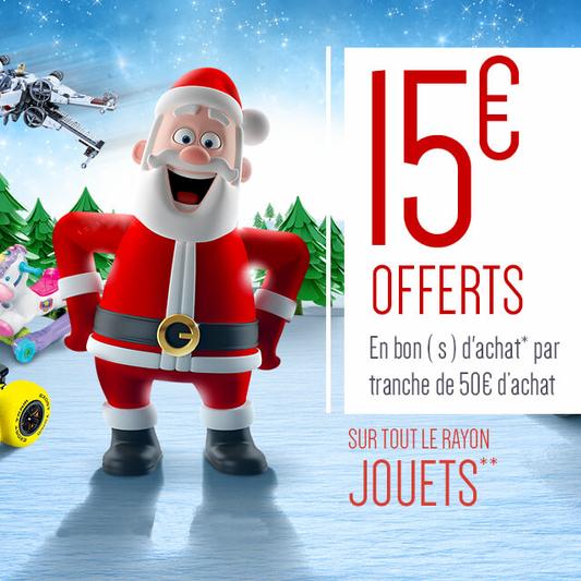 15€ offerts en bons d'achat par tranche de 50€ d'achat sur l'ensemble des Jouets - Hors Exceptions