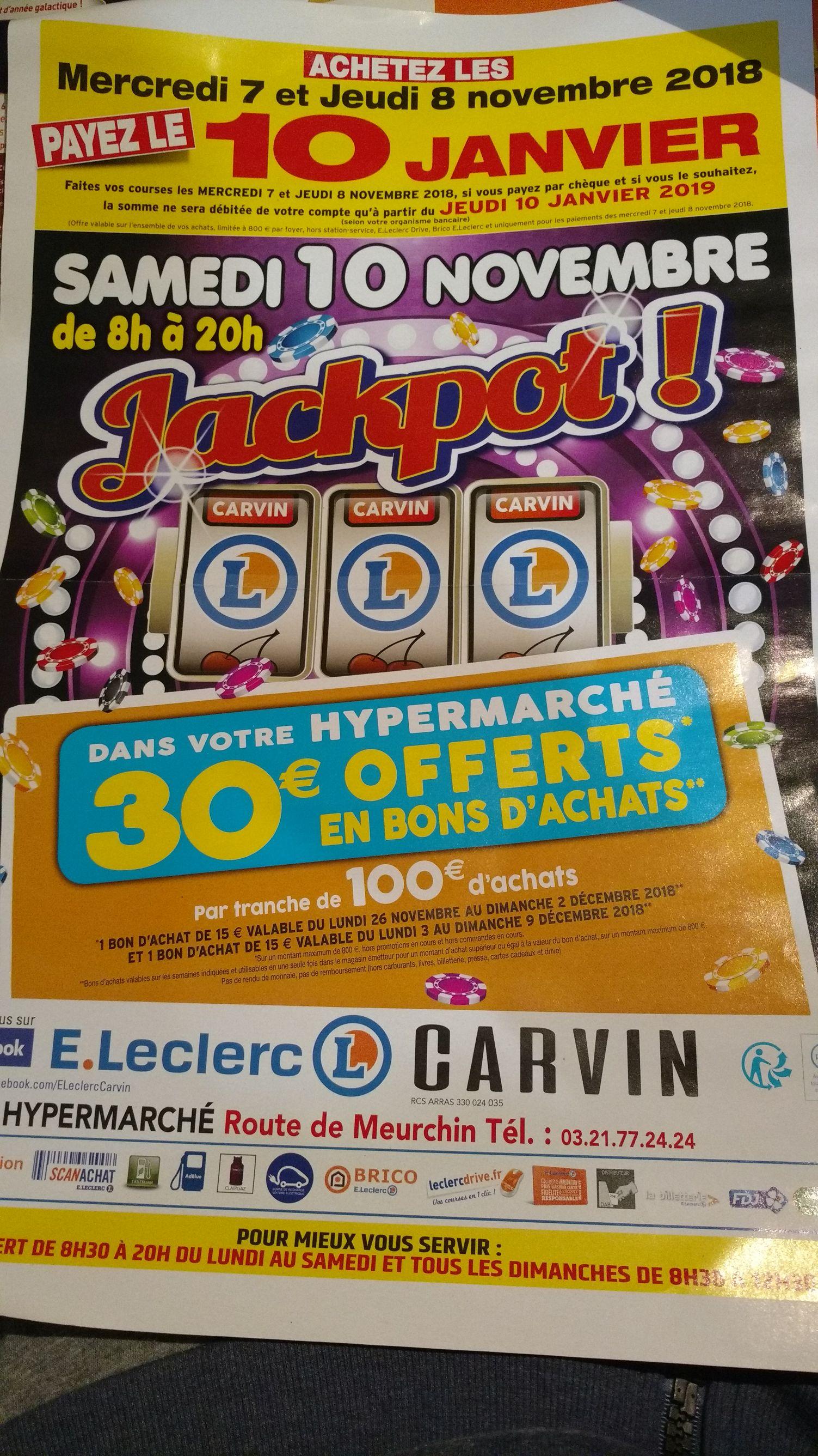 Lot de 2 bons d'achat de 15€ offerts tous les 100€ d'achat (800€ de courses max., hors promotions) - Carvin (62)