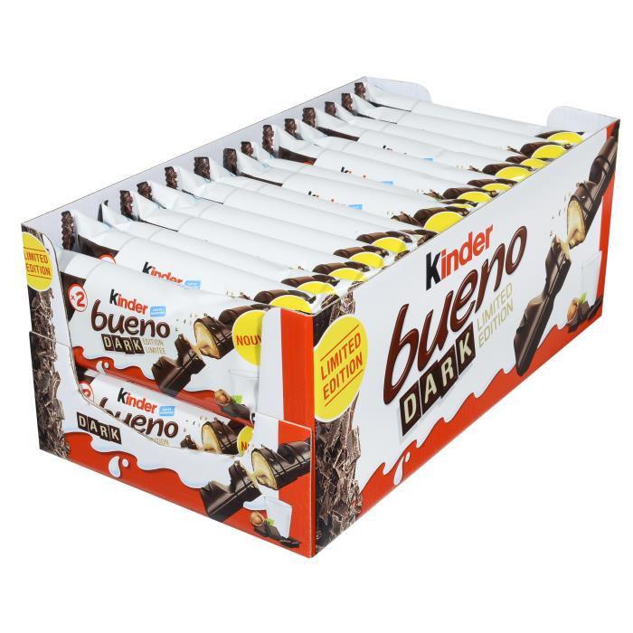 Lot de 30 barres chocolatées Kinder Bueno Dark Edition limitée