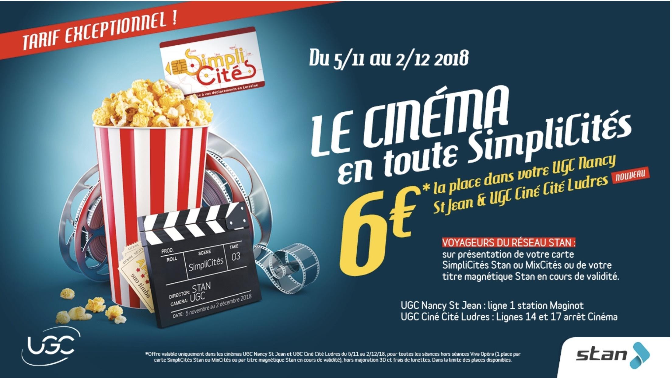 [Abonnés Stan] Place de cinéma UGC (hors majoration 3D et frais de lunettes) - Nancy (54)