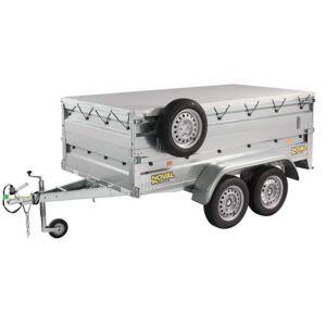 Remorque NFB 254 double essieux + roue Jockey + accessoires