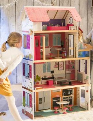 Maison de poupée en bois avec balcon