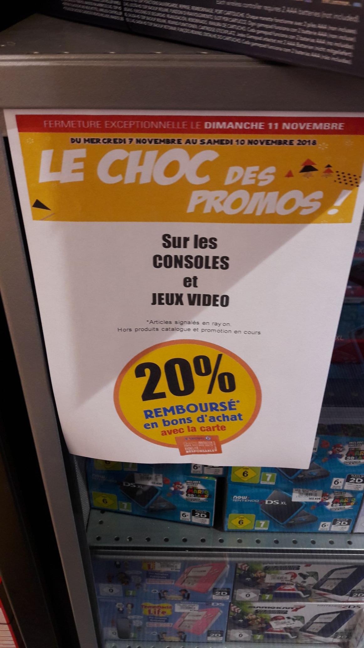 20% offert en bon d'achat sur les Consoles et Jeux vidéo - Ex : Console Nintendo classic mini NES (via 10.98€ fidélité) Rouffiac (31)