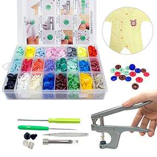 Boutons Pressions Plastiques T5 24 coloris + lot de Pince en Métal (Vendeur tiers)