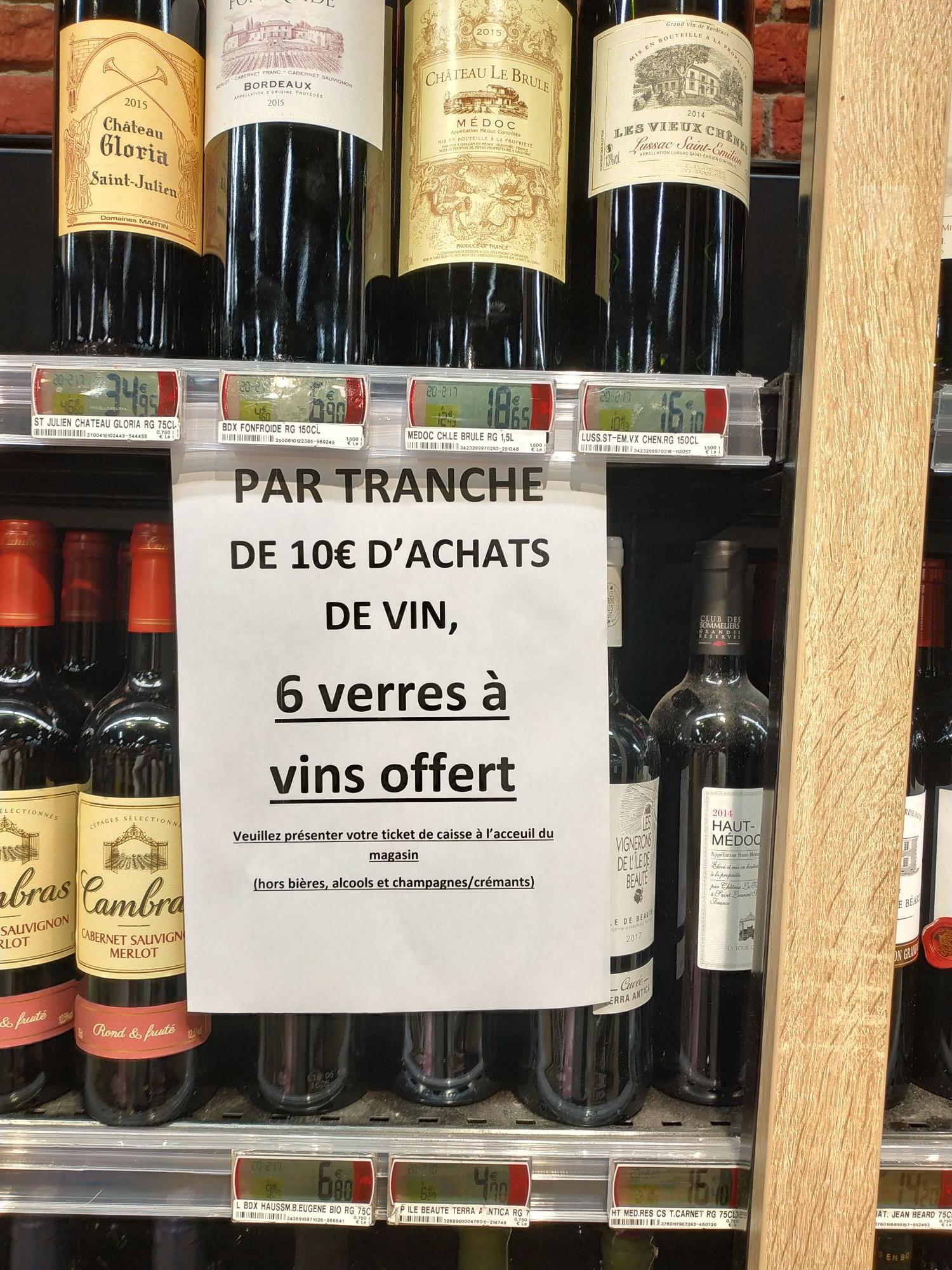 6 verres à Vin offerts par tranche de 10€ d'achat au rayon des vins - Hyères (83)