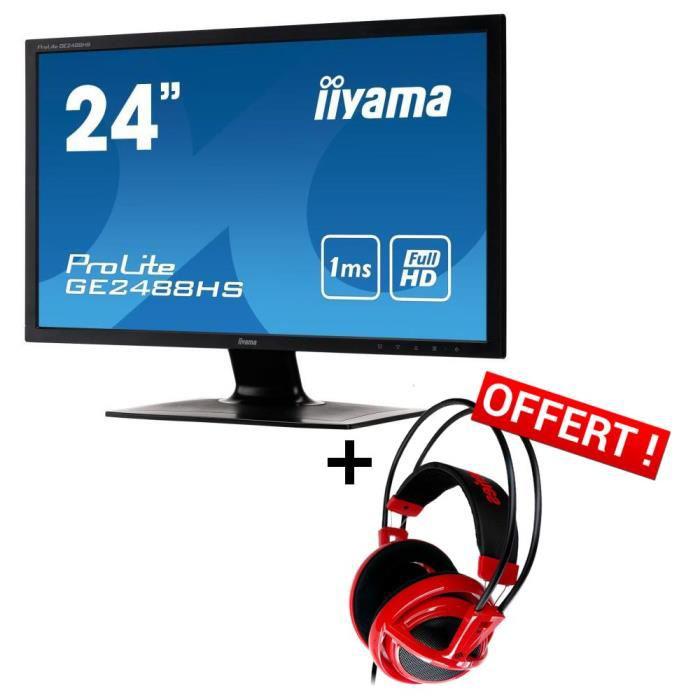 "Ecran PC 24"" 144hz Iiyama ProLite GB2488HSU avec hub USB intégré + casque Steelseries Siberia V2 Red"