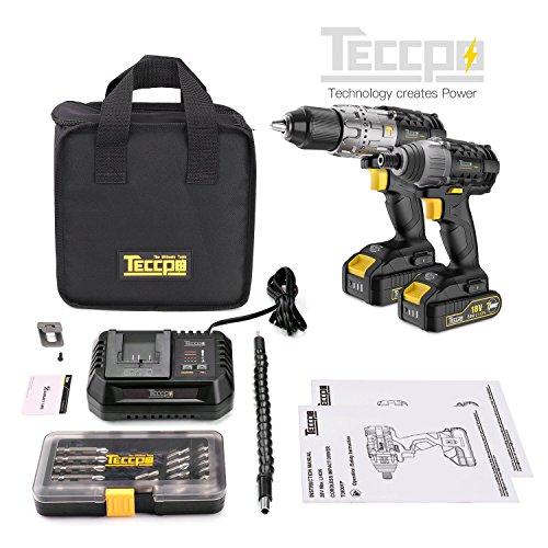Perceuse Visseuse sans fil Teccpo 18V '60Nm) + Visseuse à Chocs (180Nm) - 2 Batterie 2.0Ah (vendeur tiers)