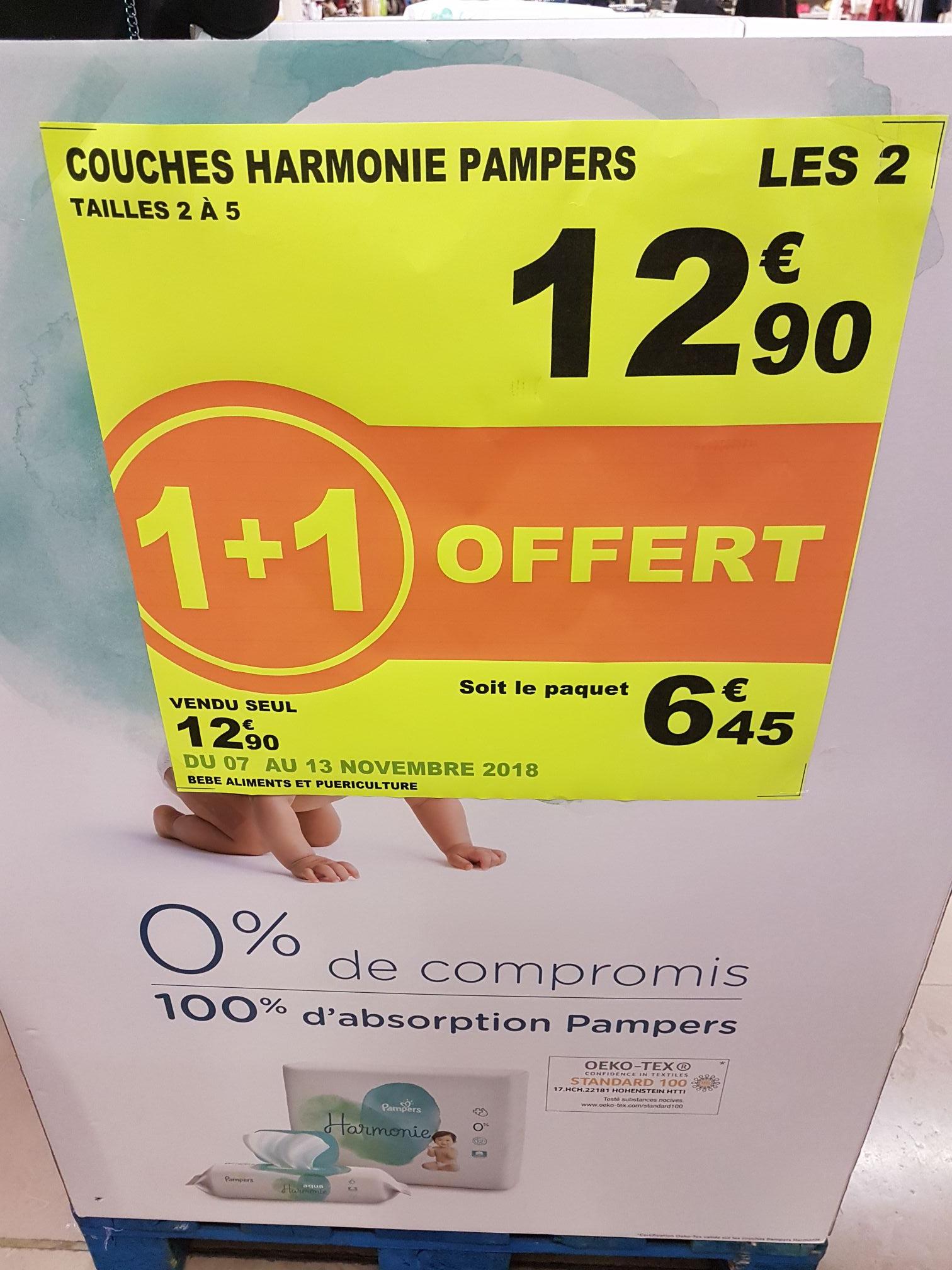Lot de 2 paquets de Couches Pampers Harmonie (Tailles 2 à 5) à Auchan Cergy 3 Fontaines