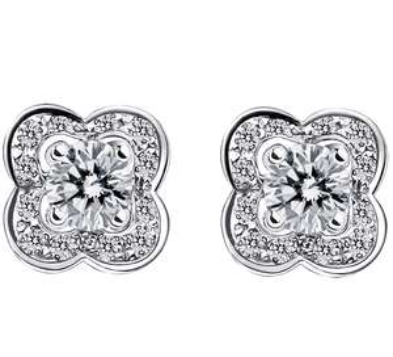 Boucles d'oreilles Mauboussin Chance of love - Or blanc et diamants