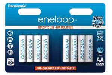 Lot de 8 piles rechargeables Panasonic ENELOOP AA - 1900mAh