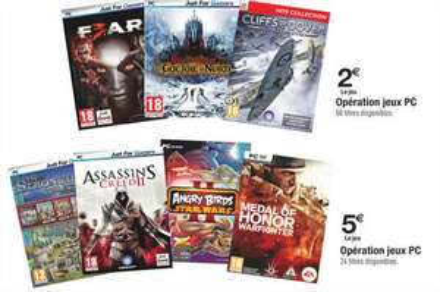Opération jeux PC : Medal of Honor : Warfighter, Assassin's Creed II... à 5€, ou Seigneur des anneaux, F.E.A.R 3...