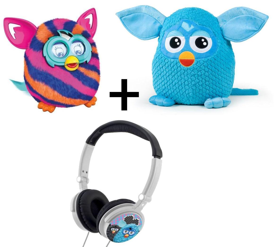 Furby Boom Sunny/Sweet plusieurs coloris + Furby Bleu 45 cm + Casque audio Furby