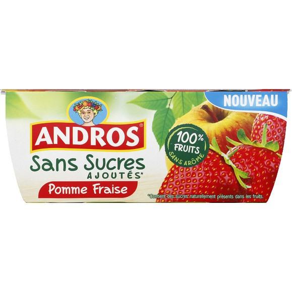 Pack de 4 desserts frutier Andros sans sucre ajoutés