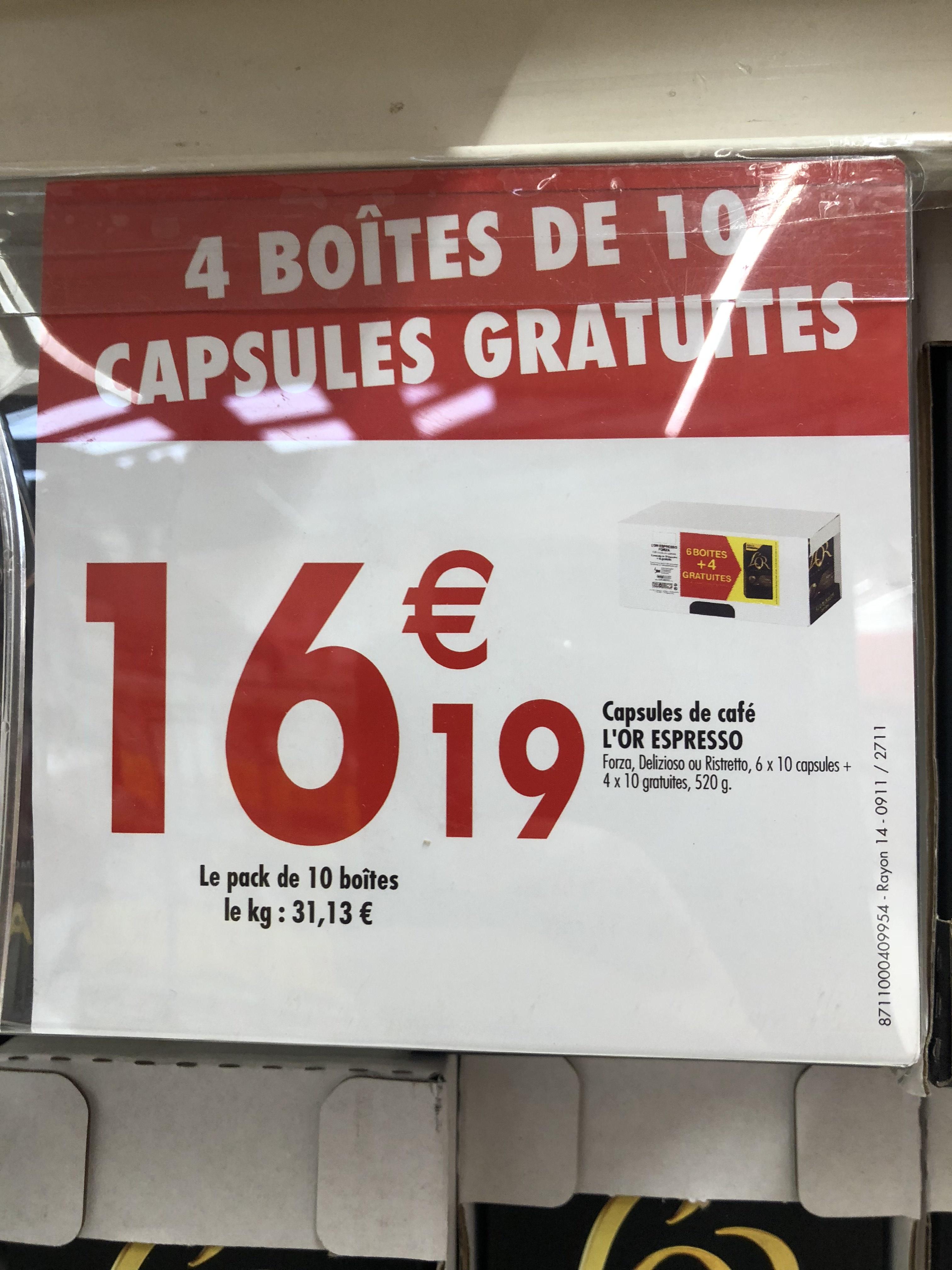 Pack de 10 boîtes de 10 capsules L'Or Expresso (100 capsules) - Villeneuve-la-Garenne (92) / Rosny 2 (93)