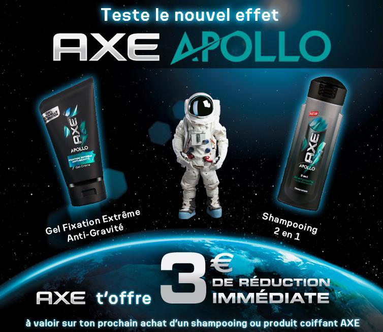 -3€ de réduction immédiate sur un shampoing ou gel coiffant Axe Apollo