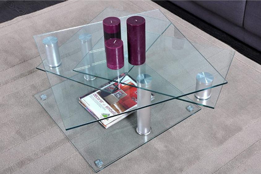 Table basse verre et chromé Dino 2 avec 2 plateaux pivotants