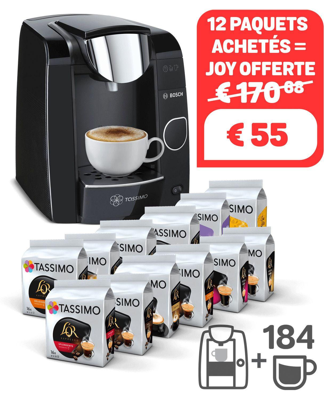 Assortiment de 12 Paquets de Capsules Tassimo (Variétés Mixtes) + Machine à Café Joy - Noire