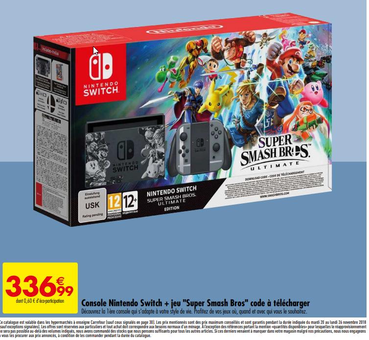 Pack Console Nintendo Switch Super Smash Bros Ultimate Edition + Super Smash Bros Ultimate (Dématérialisé)