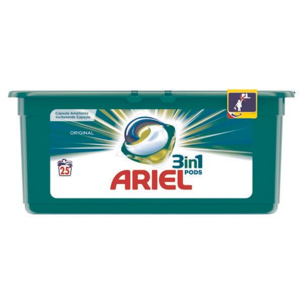 """25 Lessives Ecodoses """"Ariel 3-en-1 Pods"""" - Différents Parfums (via 7,66€ sur la carte fidélité + BDR)"""