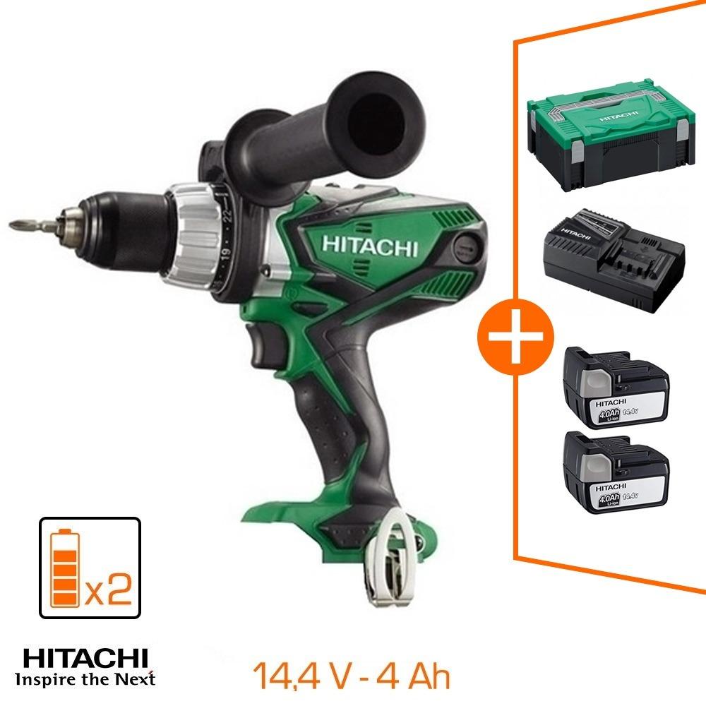 Perceuse-visseuse Hitachi 14.4V - 82Nm - 2 bat 4Ah Li-Ion + chargeur + coffret de transport