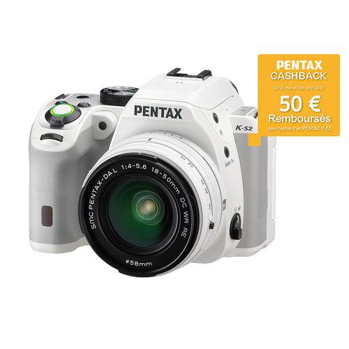 Reflex Pentax K-S2 + Objectif 18/50 WR - Blanc (via ODR 50€)