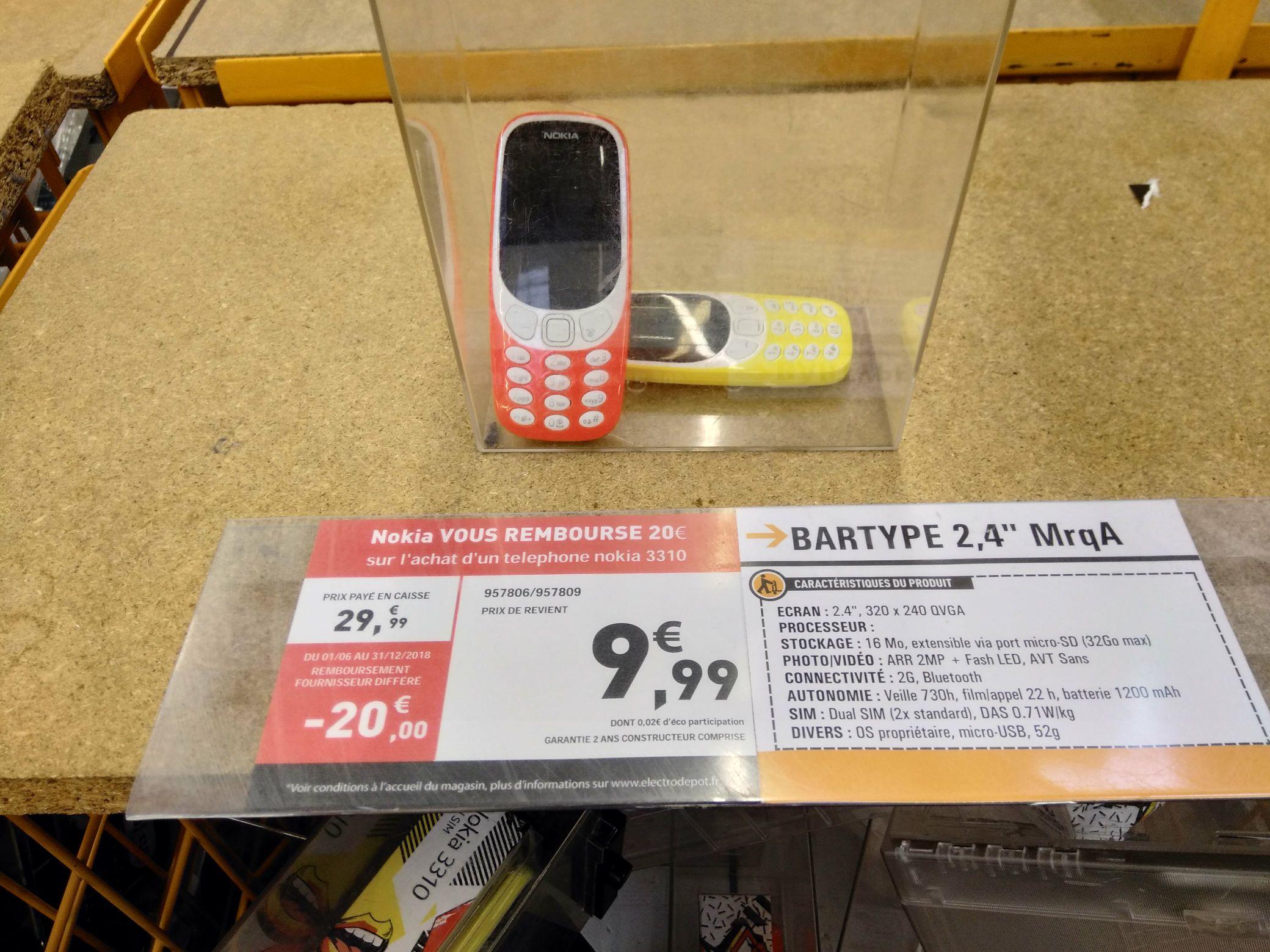 Téléphone Portable Nokia 3310 (via ODR de 20€) - Rivesaltes (66)