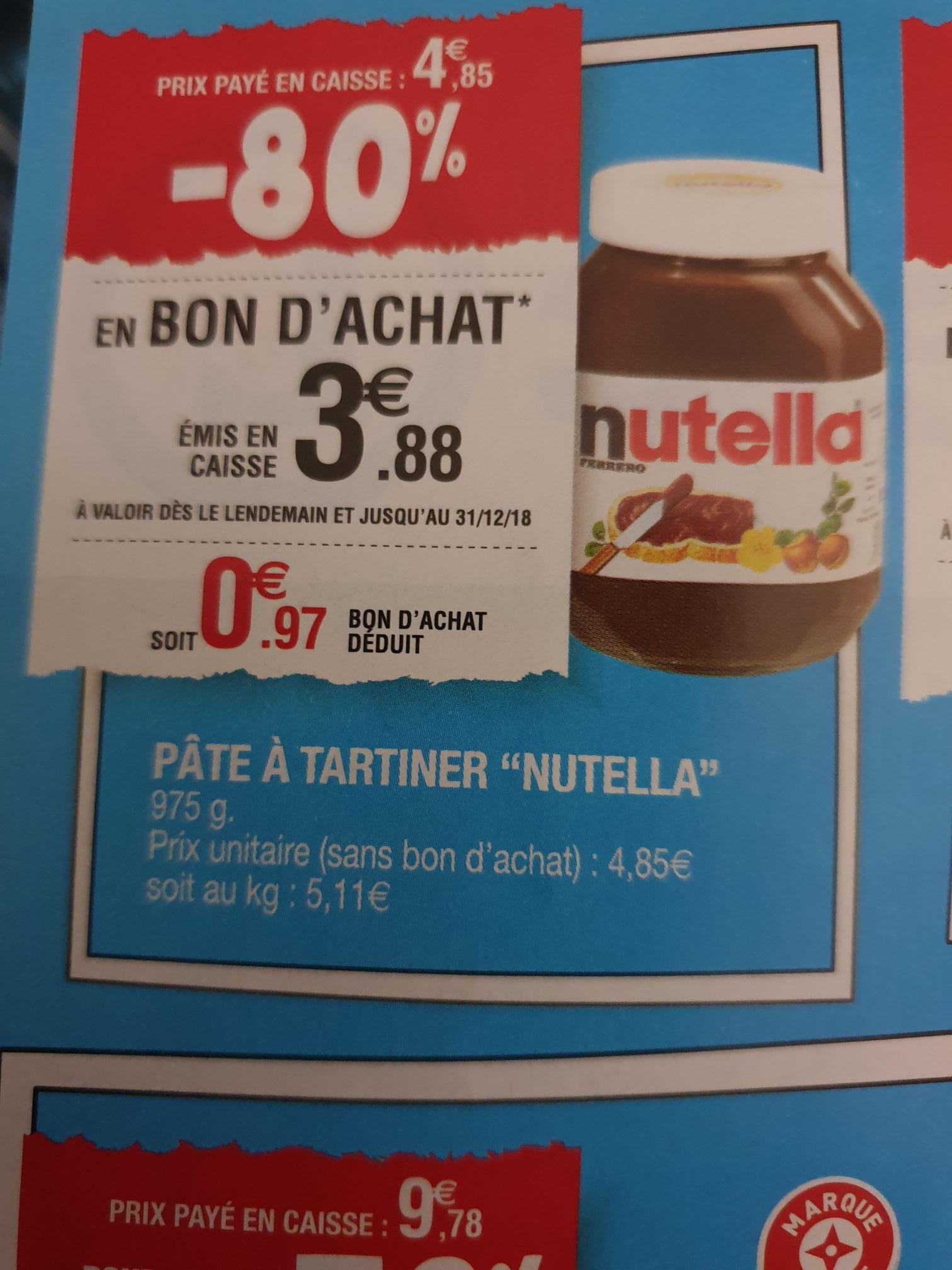 Pot de pâte à tartiner Nutella - 975 g (via 3.88€ en bon d'achat) - Dommartin-lès-Toul (54)