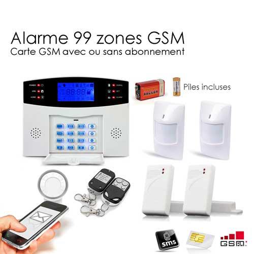 Alarme Maison Sans fil GSM - 99 zones Medium