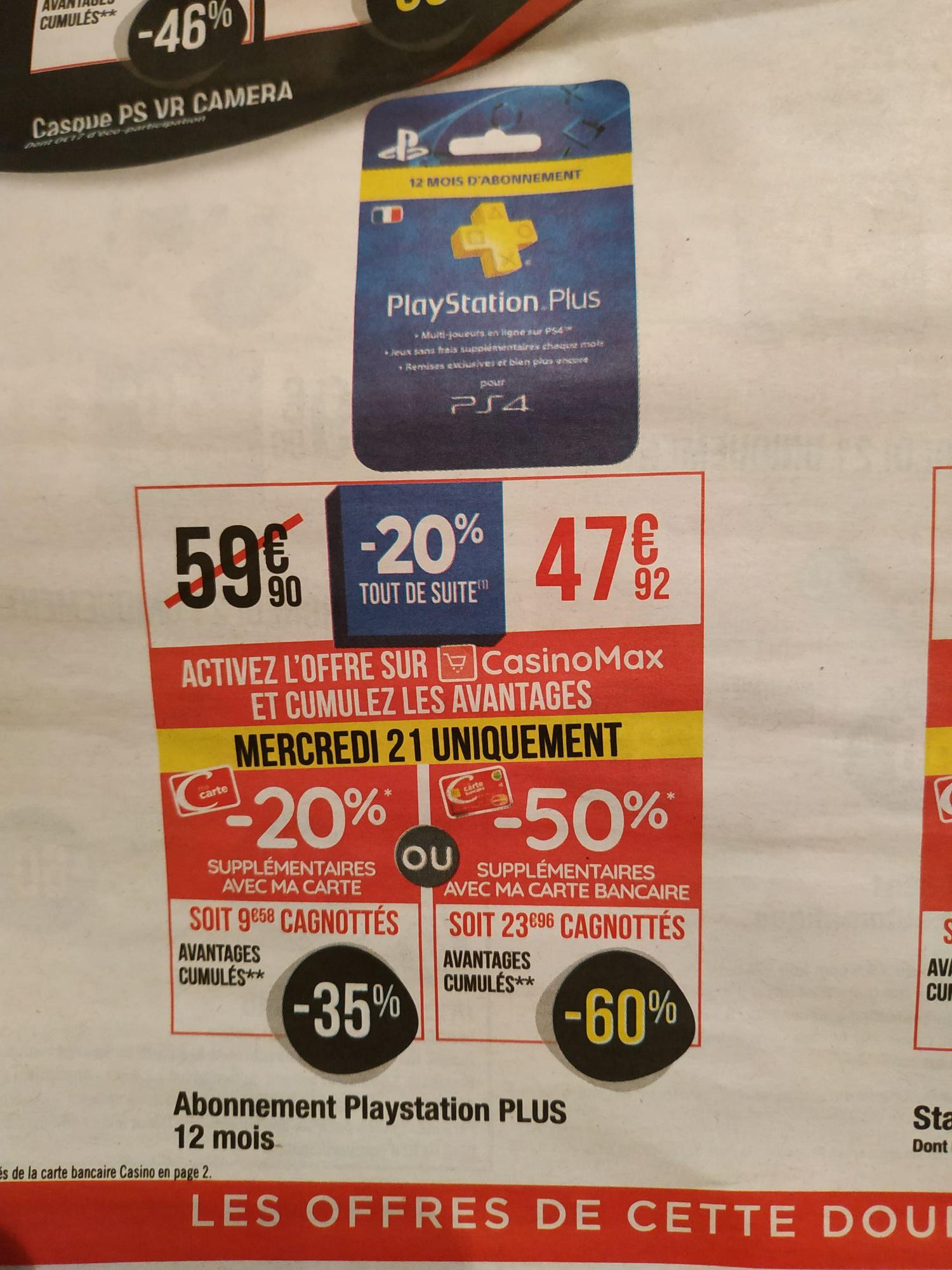 Carte d'abonnement de 12 mois au PlayStation Plus (via 9.58€ sur la carte de fidélité) ou 23.96€ avec la carte bancaire Casino