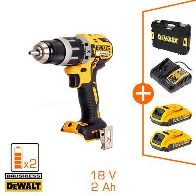 Perceuse-visseuse Brushless DeWalt 18V - 2 bat 18V 2Ah Li-ion + chargeur + coffret Tstak (Nouveau client 100€ remboursé)